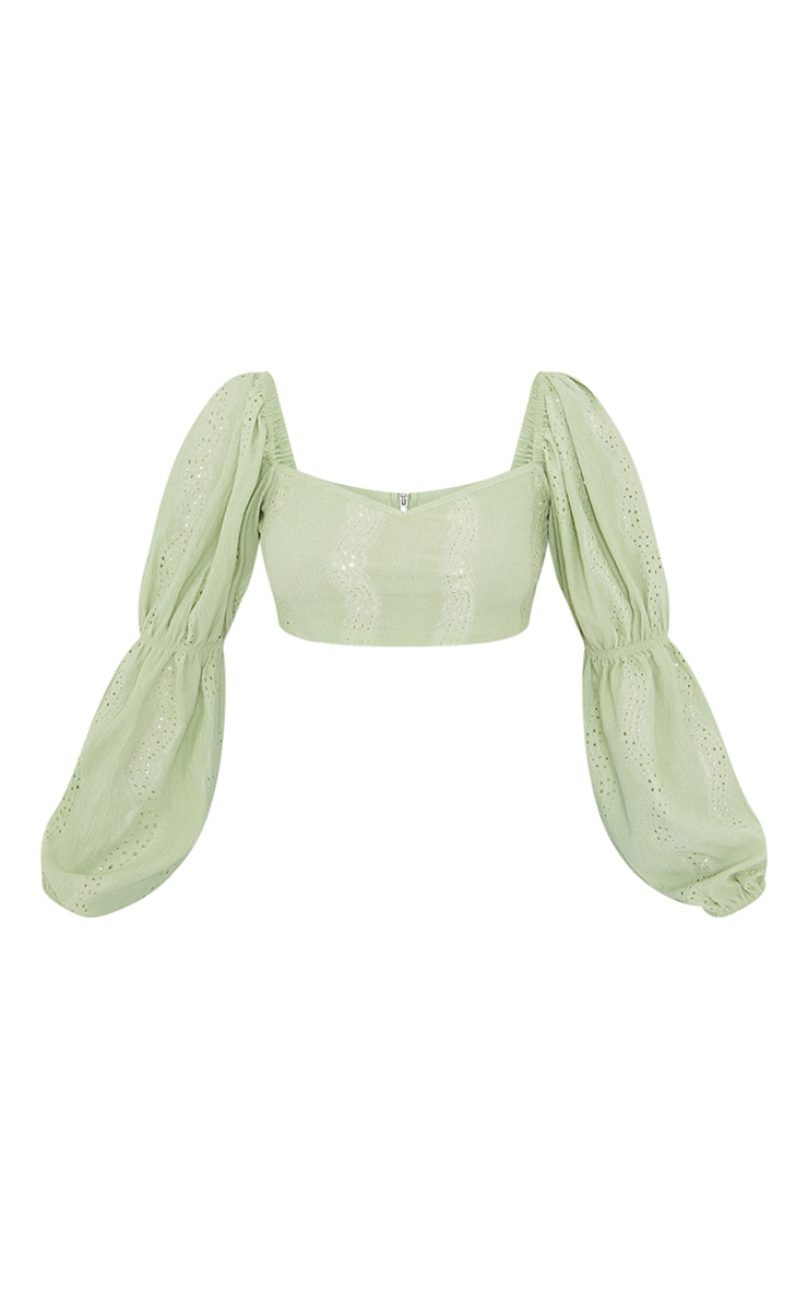 Petite Sage Green Broderie Anglaise Balloon Sleeve Cropped Blouse 5