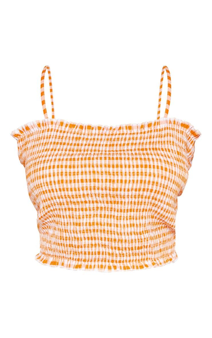 Plus Orange Gingham Shirred Strappy Crop Top  3