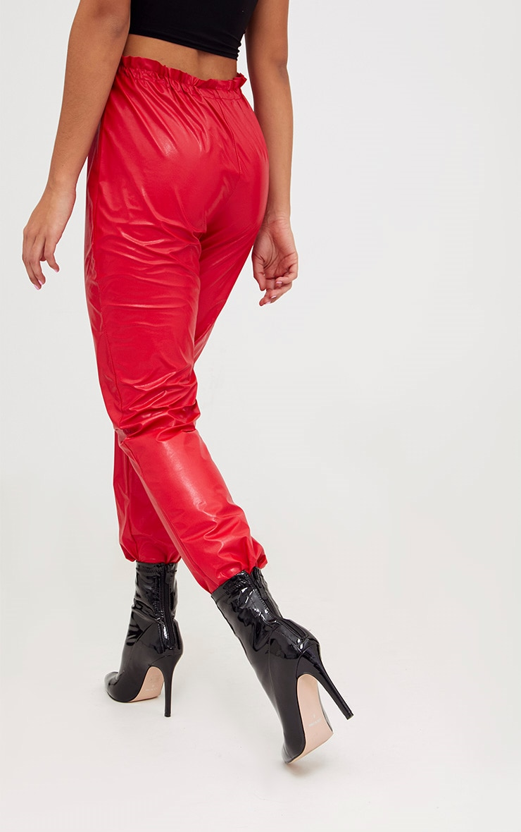 Red Faux Leather Paperbag Joggers 4