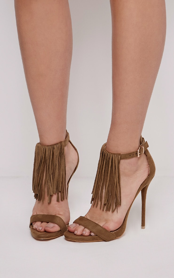 Billie Khaki Faux Suede Fringed Heeled Sandals 1
