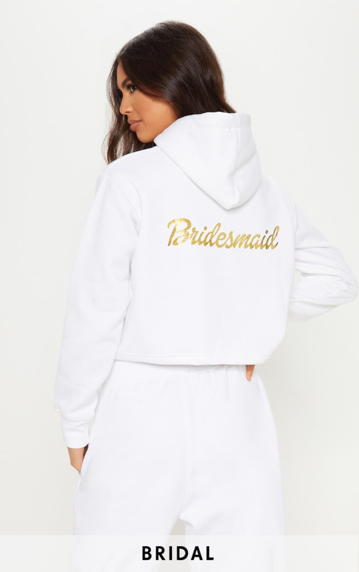 White Bridesmaid Slogan Cropped Hoodie