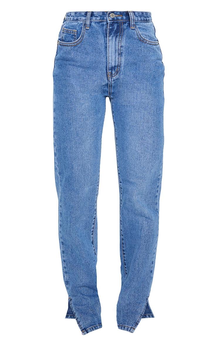 Mid Blue Wash Split Hem Jeans With Bum Distress 5