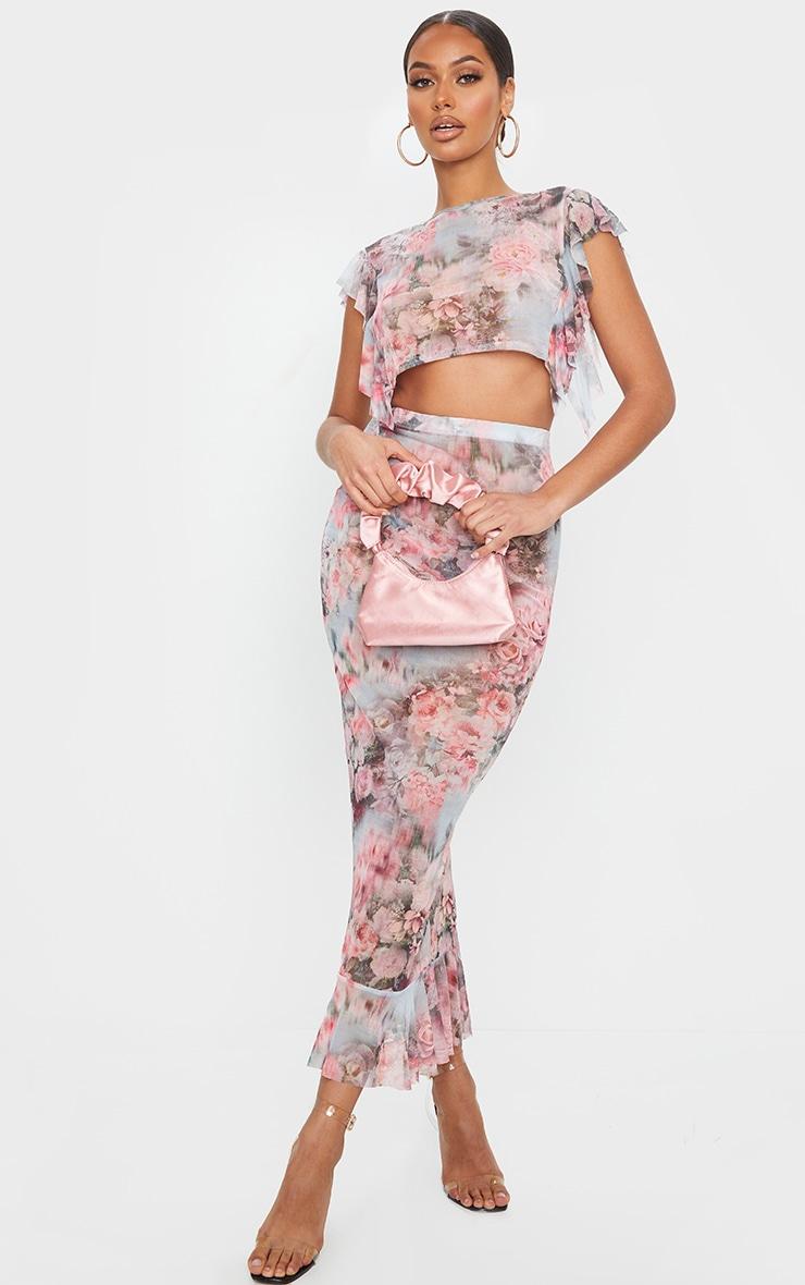 Pink Floral Print Mesh Frill Sleeve Crop Top 3