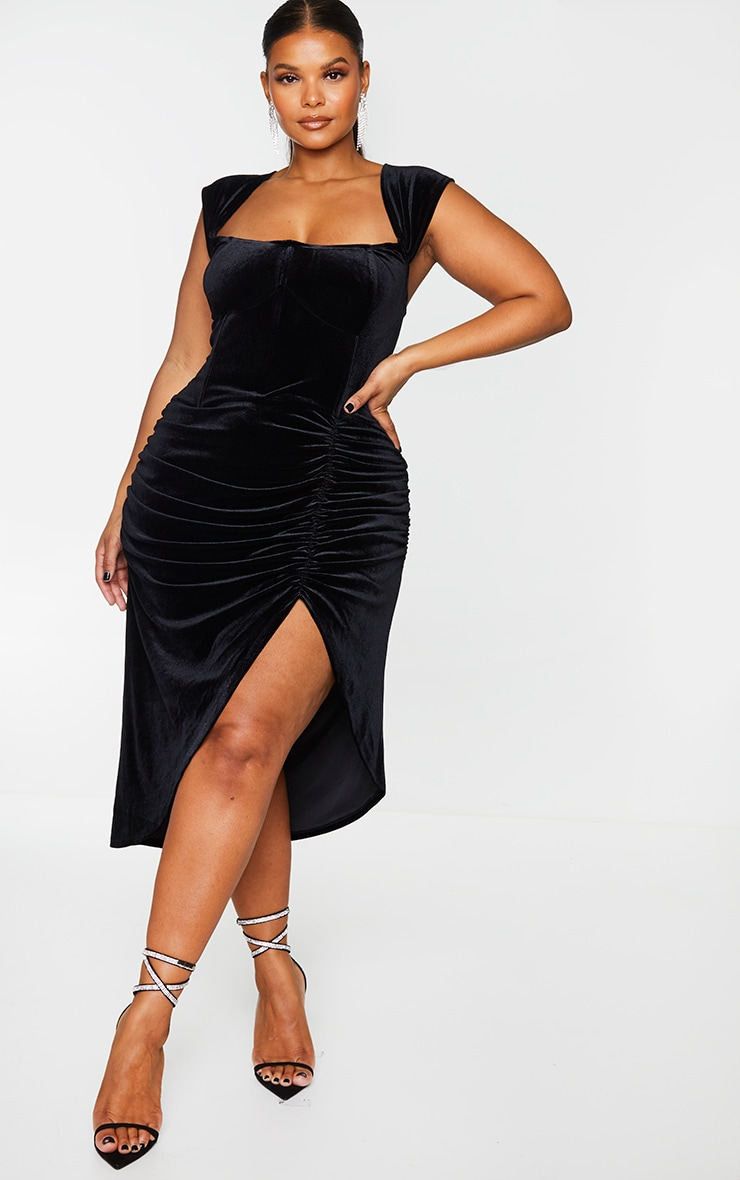 Plus Black Velvet Bardot Corset Detail Midi Dress 1