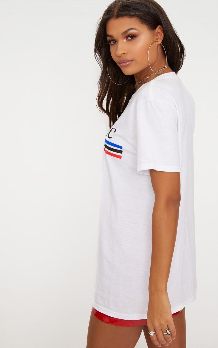 White Tres Chic Slogan Oversized T Shirt  2