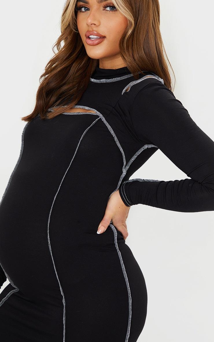 Maternity Black Cut Out Midi Dress 4