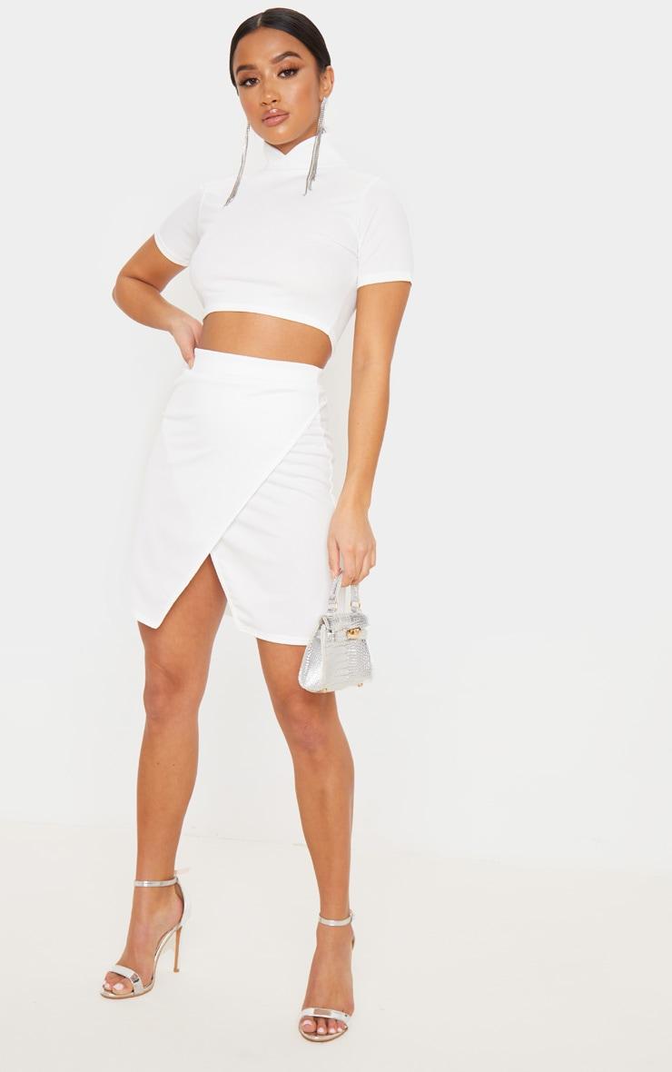 Petite Cream Crepe Oriental Wrap Skirt 3