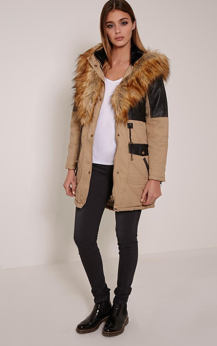 Elanor Camel PU Panel Fur Collar Parka Jacket 3