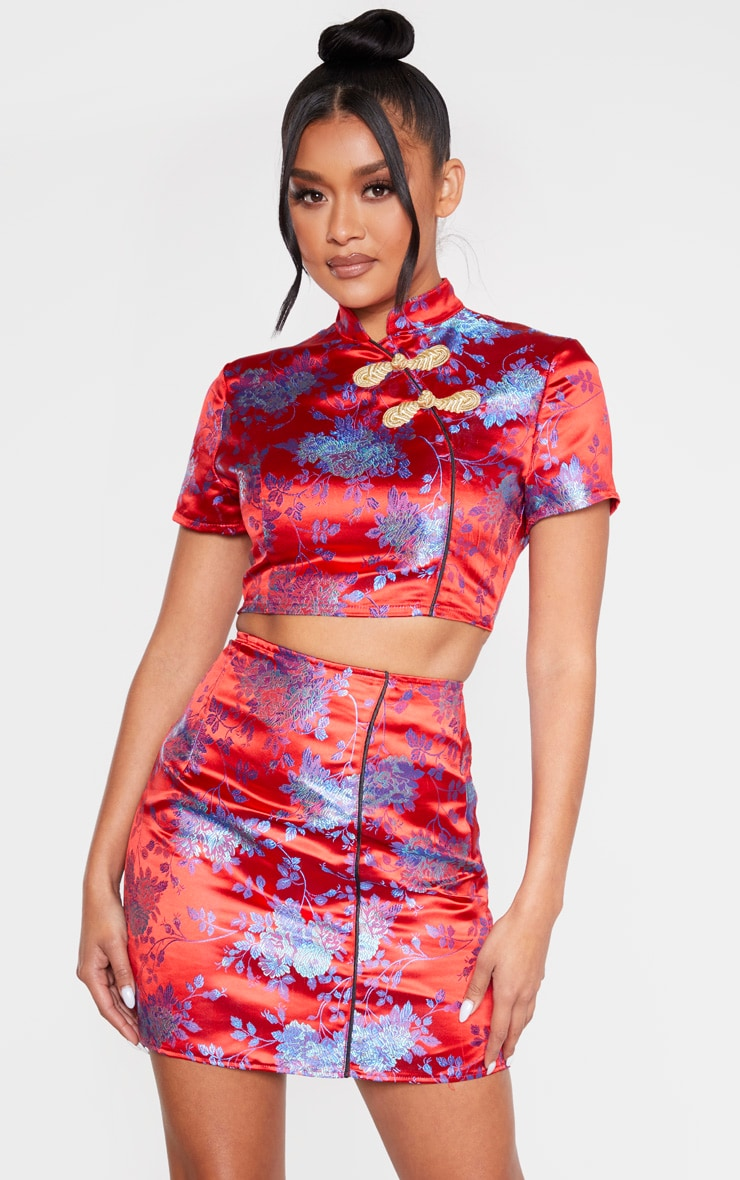 Red Print Satin A Line Skirt 1