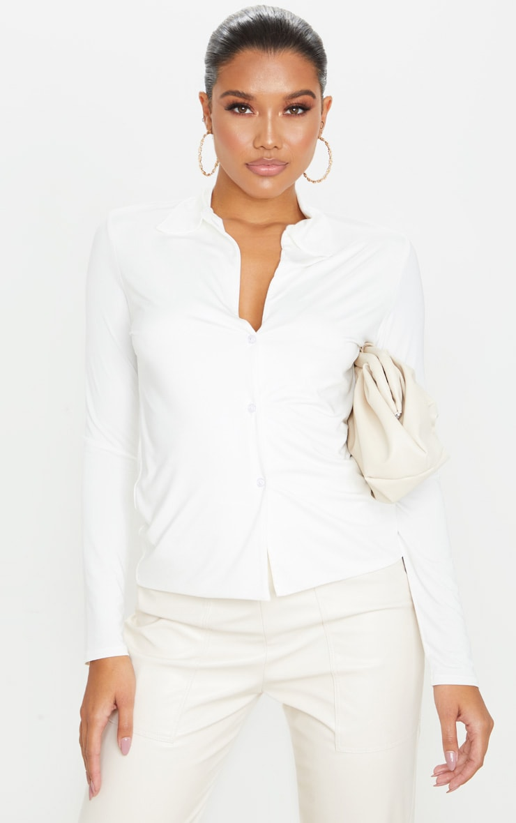 Chemise manches longues slinky blanche  1