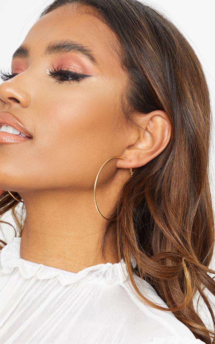 Gold Large Tubular Earrings 1
