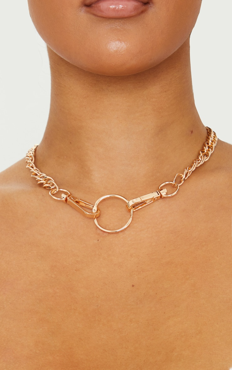 Gold Double Link Chunky Lobster Clasp Necklace 2