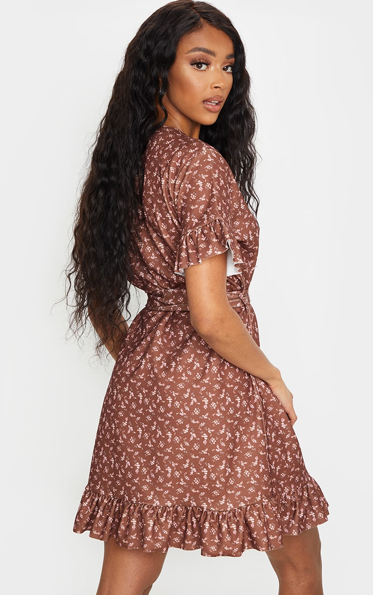 Brown Floral Print Crew Neck Tie Waist Frill Hem Tea Dress 2