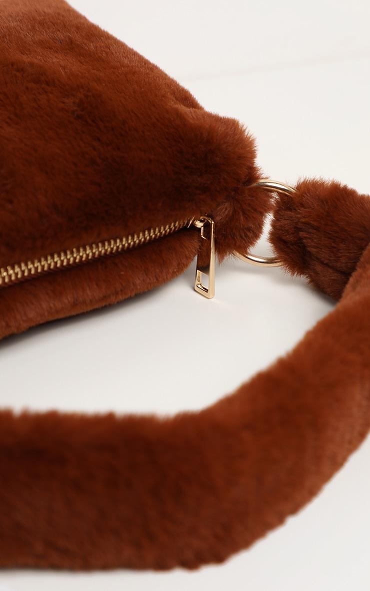 Brown Faux Fur Shoulder Bag 4