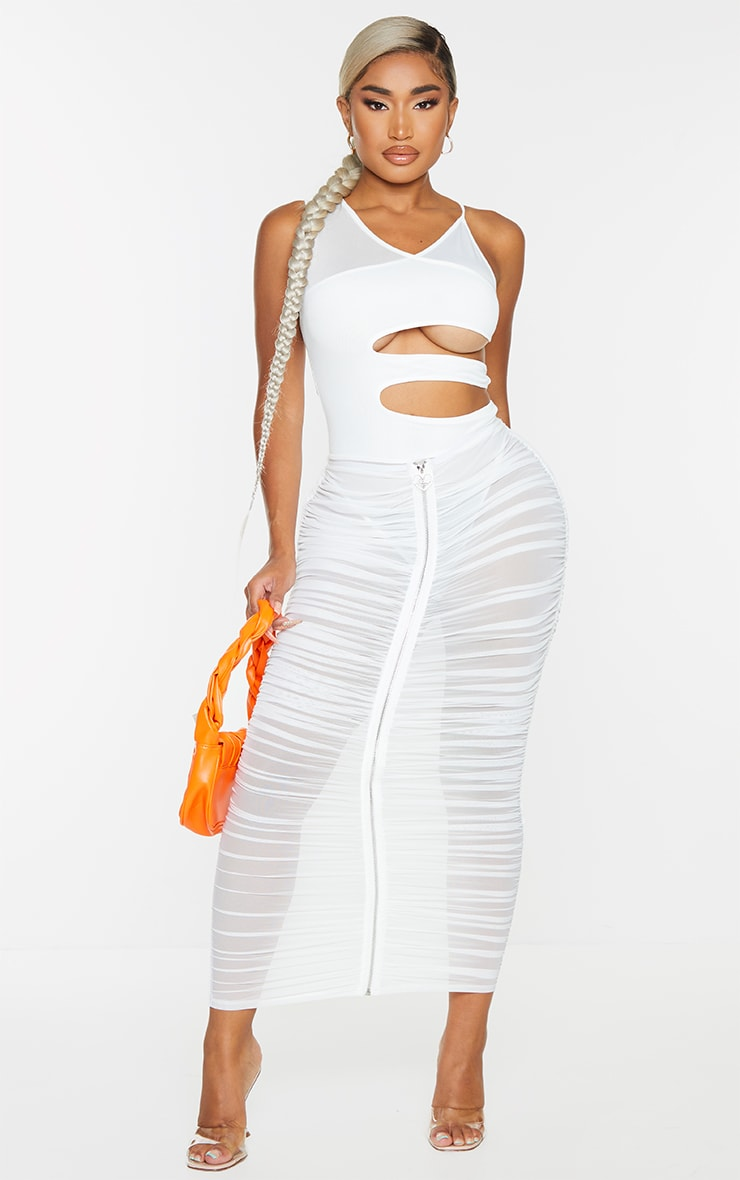 Shape Cream Branded Trim Ruched Mesh Midaxi Skirt 1