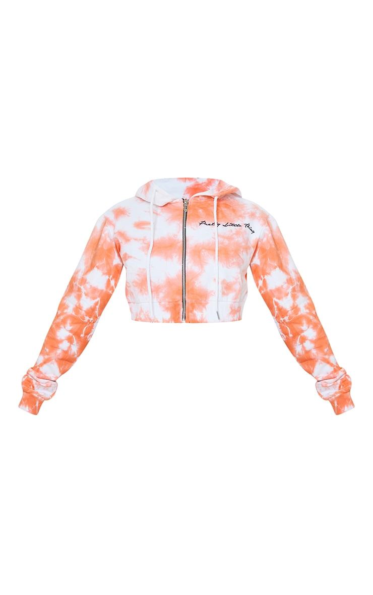 PRETTYLITTLETHING Petite Orange Tie Dye Cropped Embroidered Zip Hoodie 5