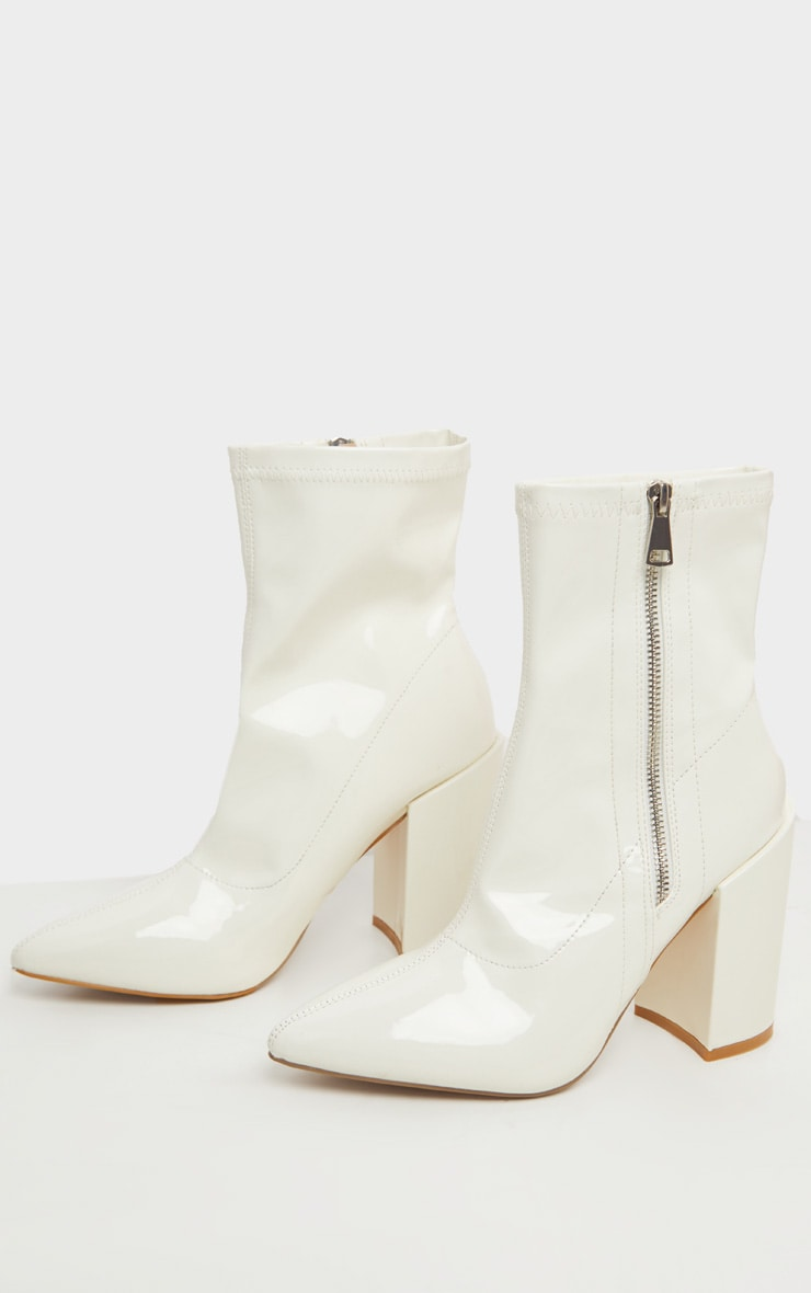 White Chunky Heel Side Zip Sock Boot 4
