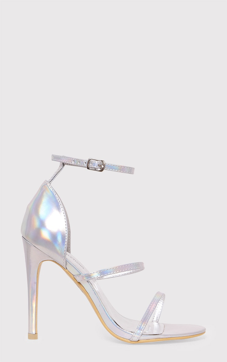 Amelia Silver Holographic Strappy Heeled Sandals 1