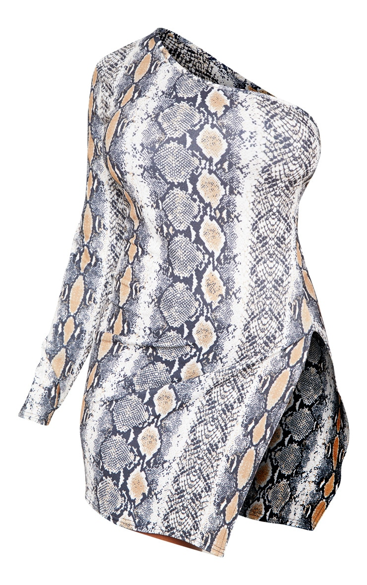 Shape Taupe Snake Print One Shoulder Split Bodycon Dress 3