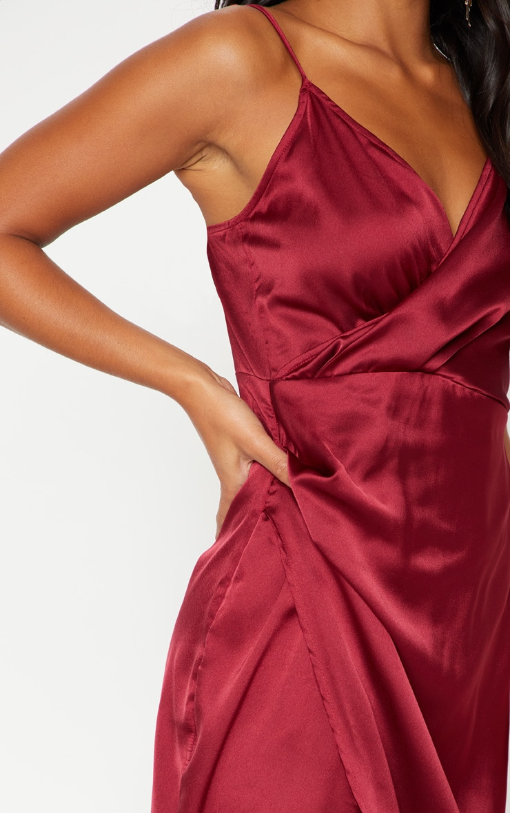 Petite Burgundy Satin Wrap Detail Maxi Dress 5