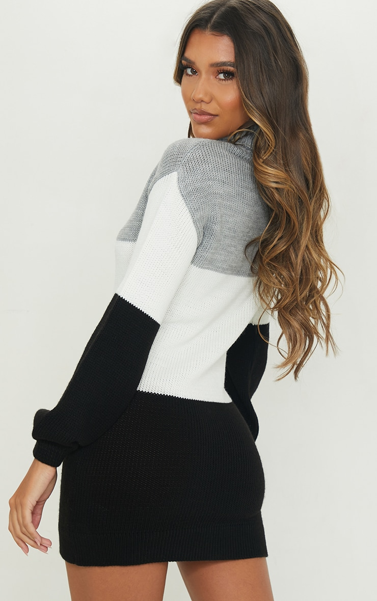 Grey Color Block Chunky Roll Neck Sweater Dress 2