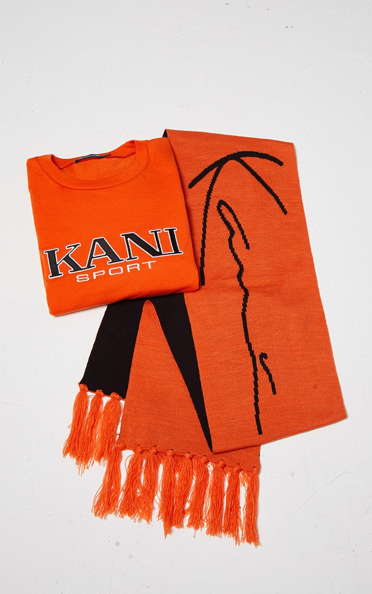 KARL KANI Orange Tassel Trim Scarf 3