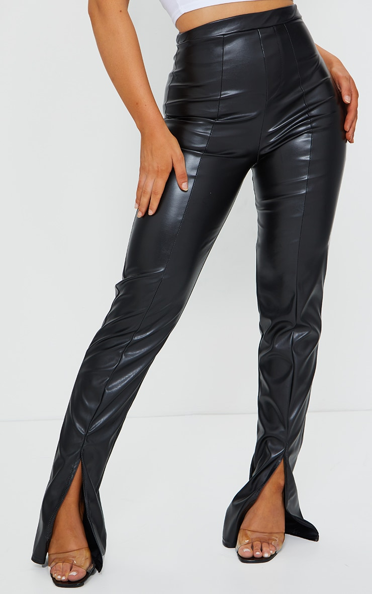 Black Faux Leather Seam Detail Split Hem Trousers 2