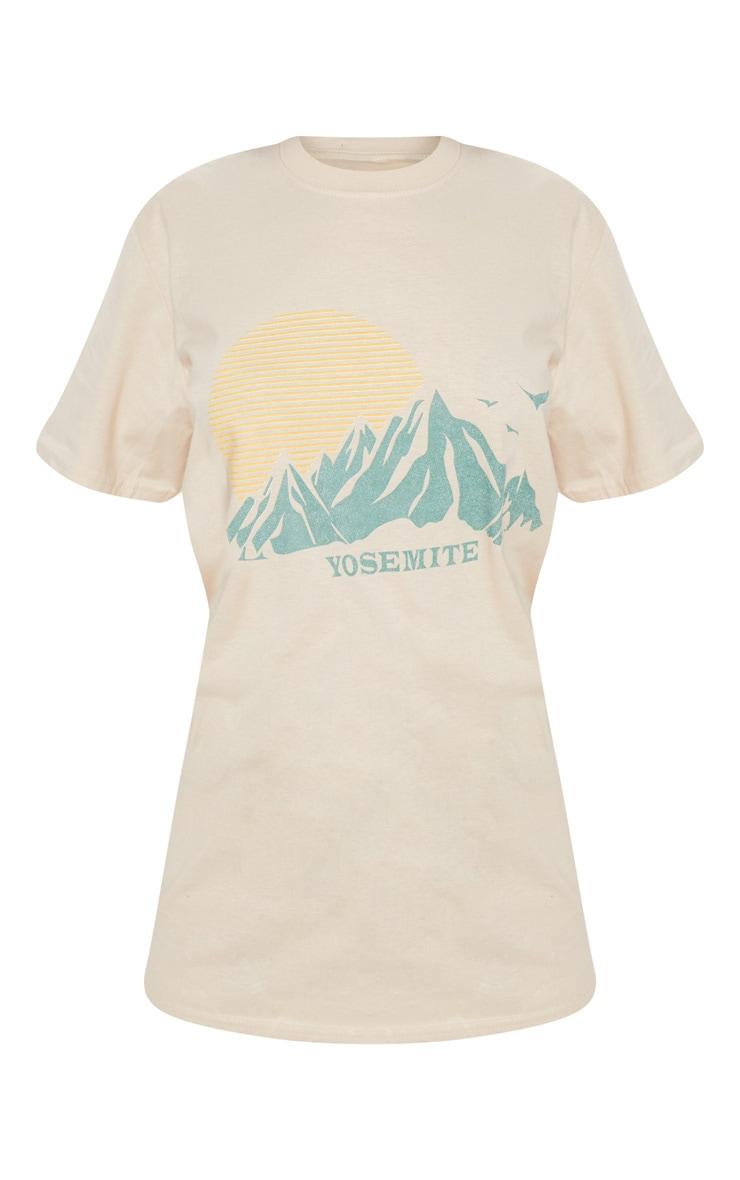 Sand Yosemite Printed Oversized T Shirt 3