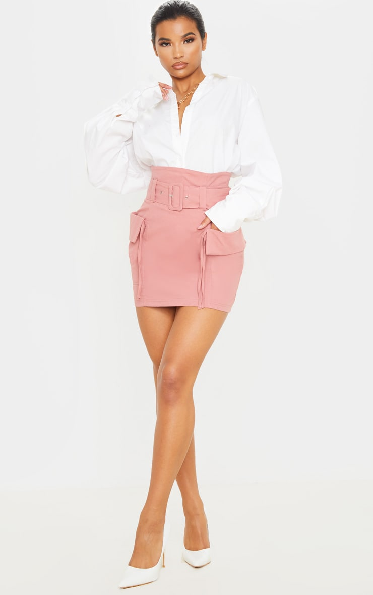 Dusty Rose Belted Pocket Detail Cargo Mini Skirt 1