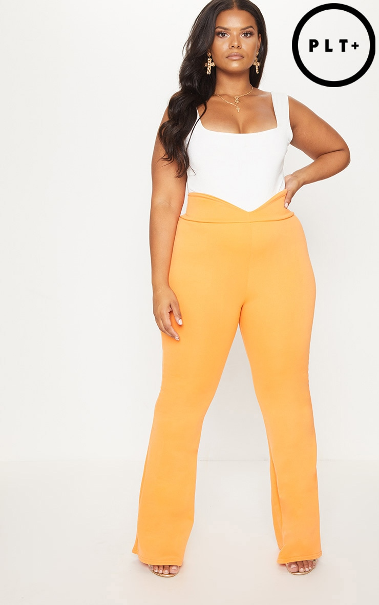 Plus Orange Scuba Curve Waist Band Detail Flared Trousers  1