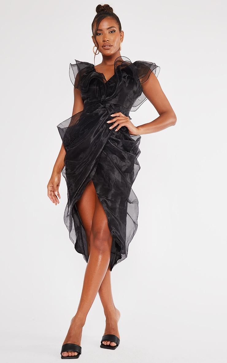 Black Organza Draped Frill Detail Midi Dress 1