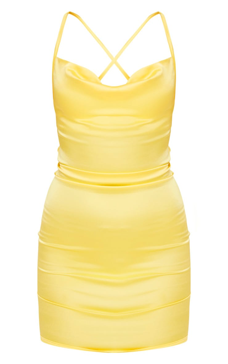 Lemon Stretch Satin Lace Up Back Cowl Neck Bodycon Dress 3