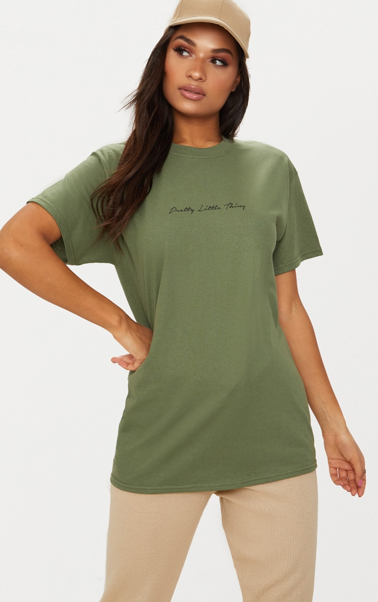 PRETTYLITTLETHING Khaki Slogan Oversized T Shirt 1