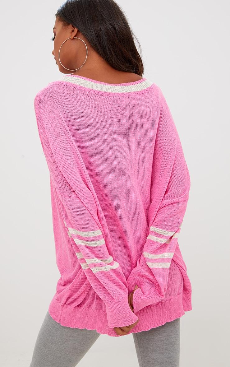 Pink V Neck Sheer Knitted Jumper 2