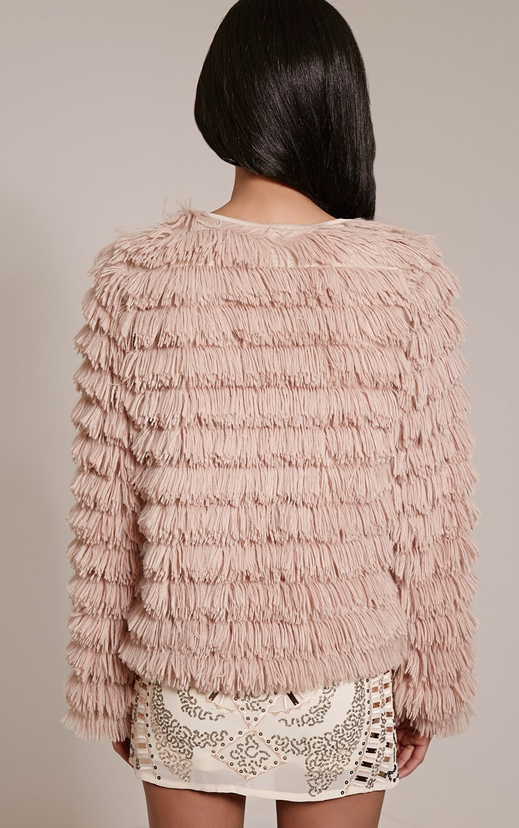 Asara Blush Faux Fur Shaggy Jacket 2