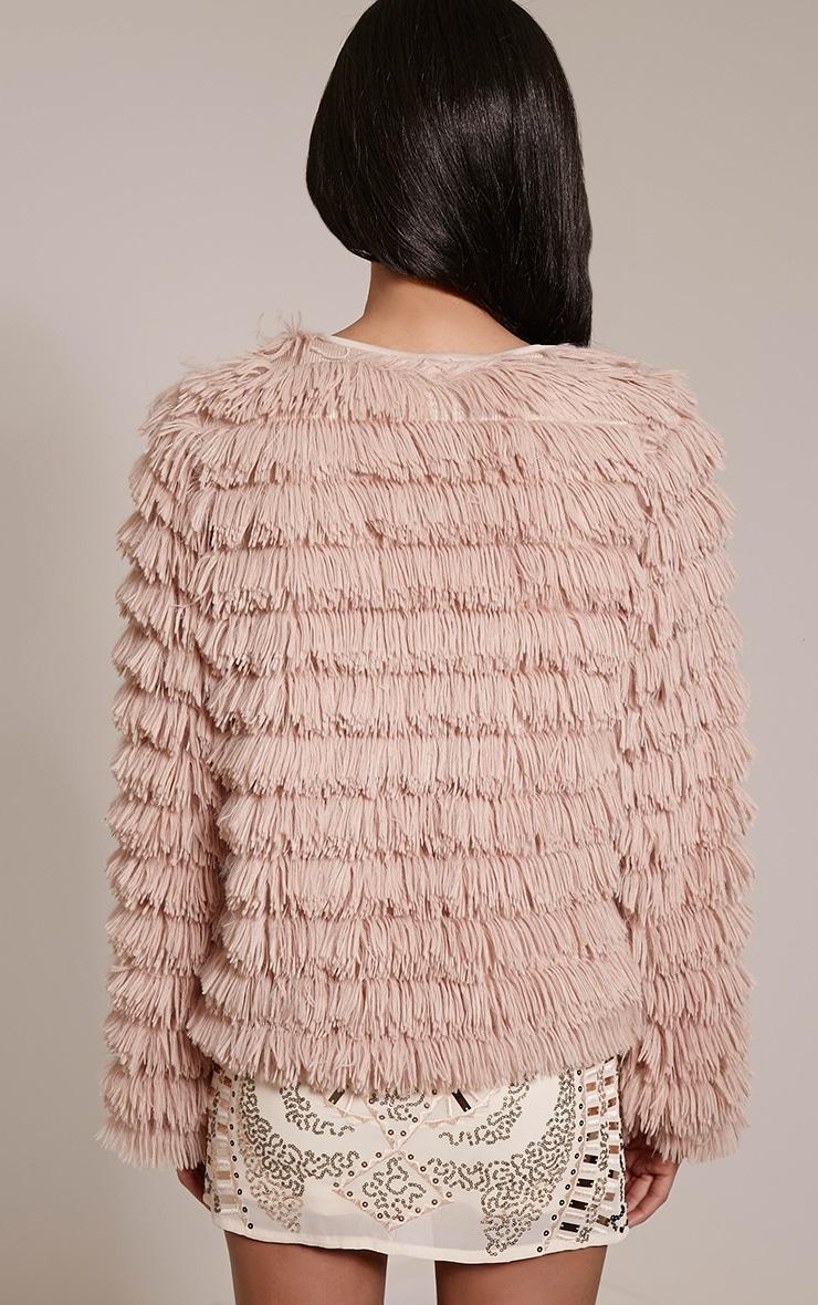 Asara Blush Faux Fur Shaggy Jacket 2