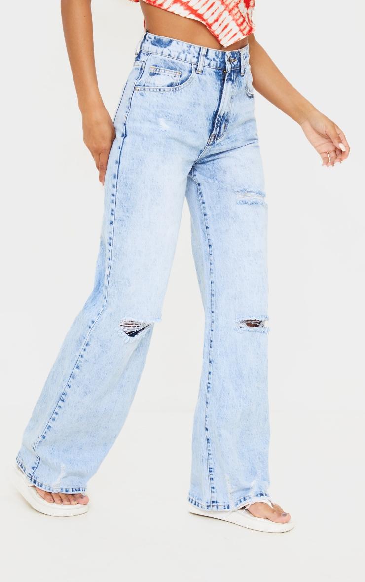 Ice Blue Wash Ripped Hem Wide Leg Jeans 2