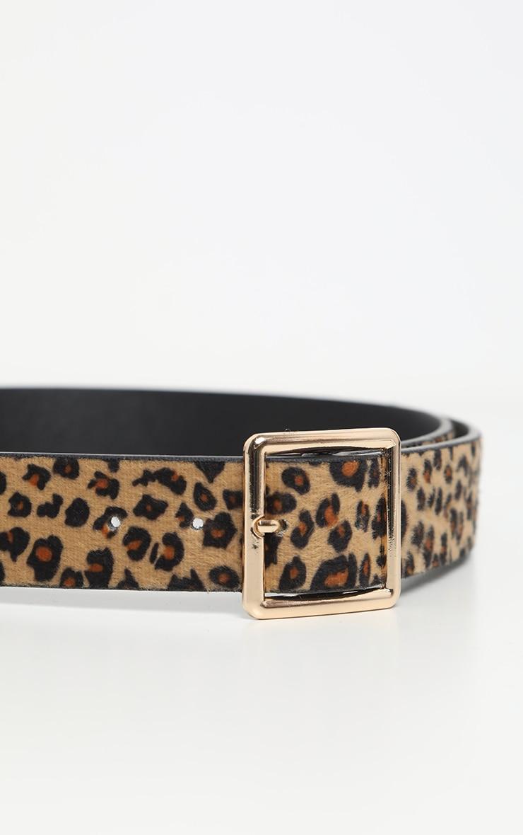 Beige Leopard Print Furry Waist Belt 4