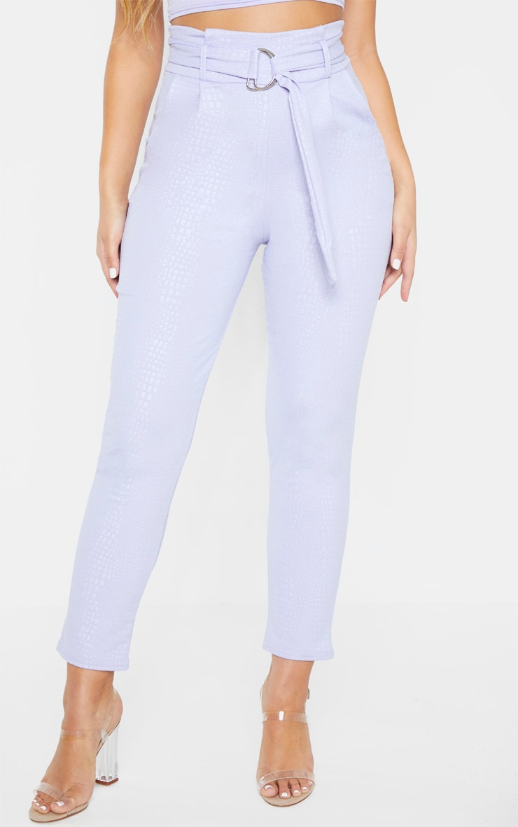 Lilac Croc Print D Ring Belted Skinny Trousers 2