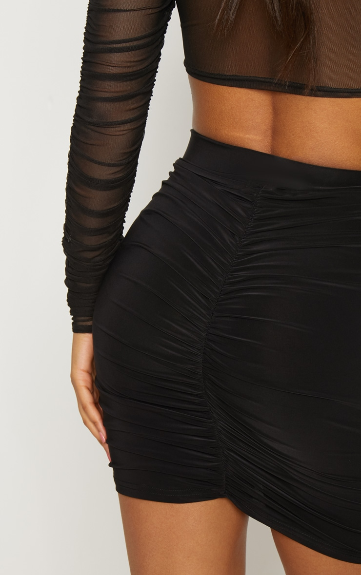 Black Slinky Ruched Seam Detail Mini Skirt 6
