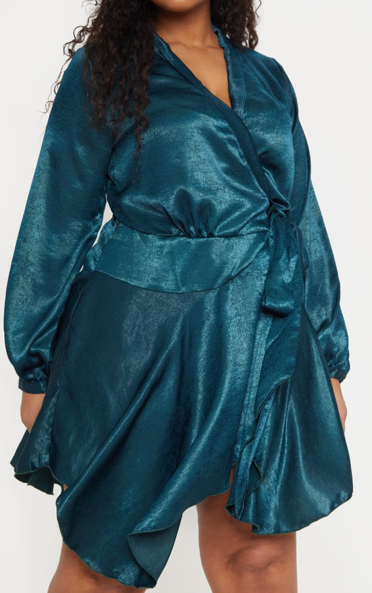 Plus Emerald Green Satin Frill Detail Wrap Dress  5
