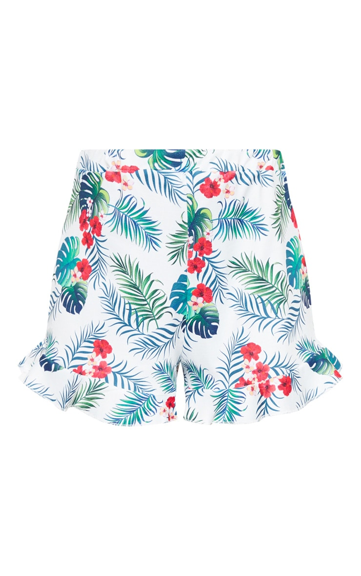 White Tropical Print High Waisted Frill Hem Short 3