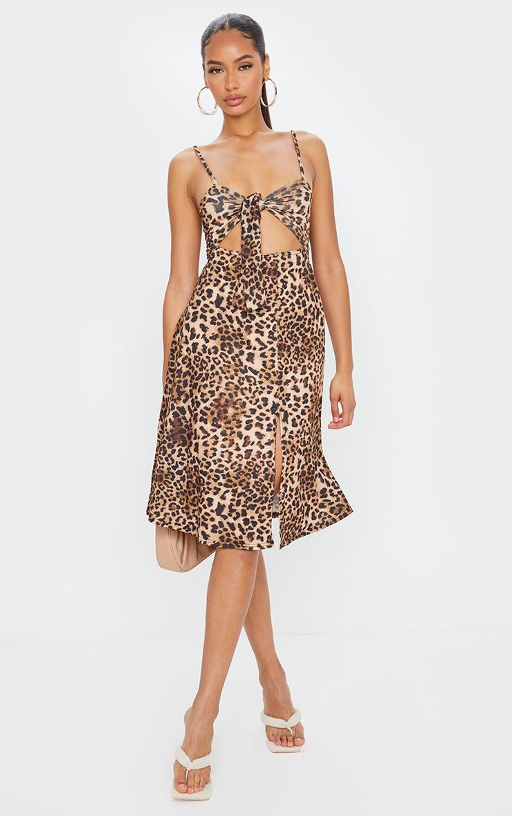 Brown Leopard Print Tie Front Strappy Swing Dress 3