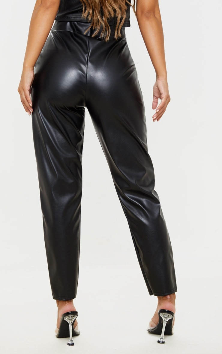 Petite Black High Waisted PU Trouser 4