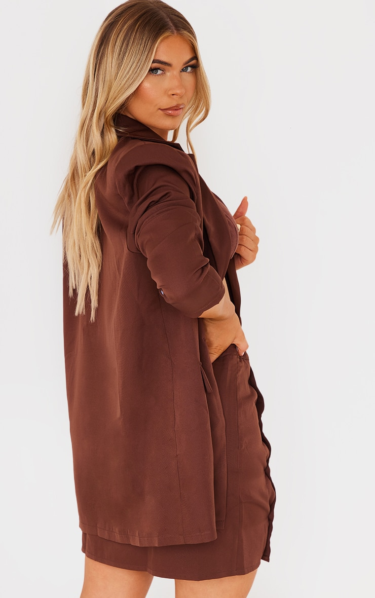 Chocolate Brown Woven Button Sleeve Detail Blazer 2