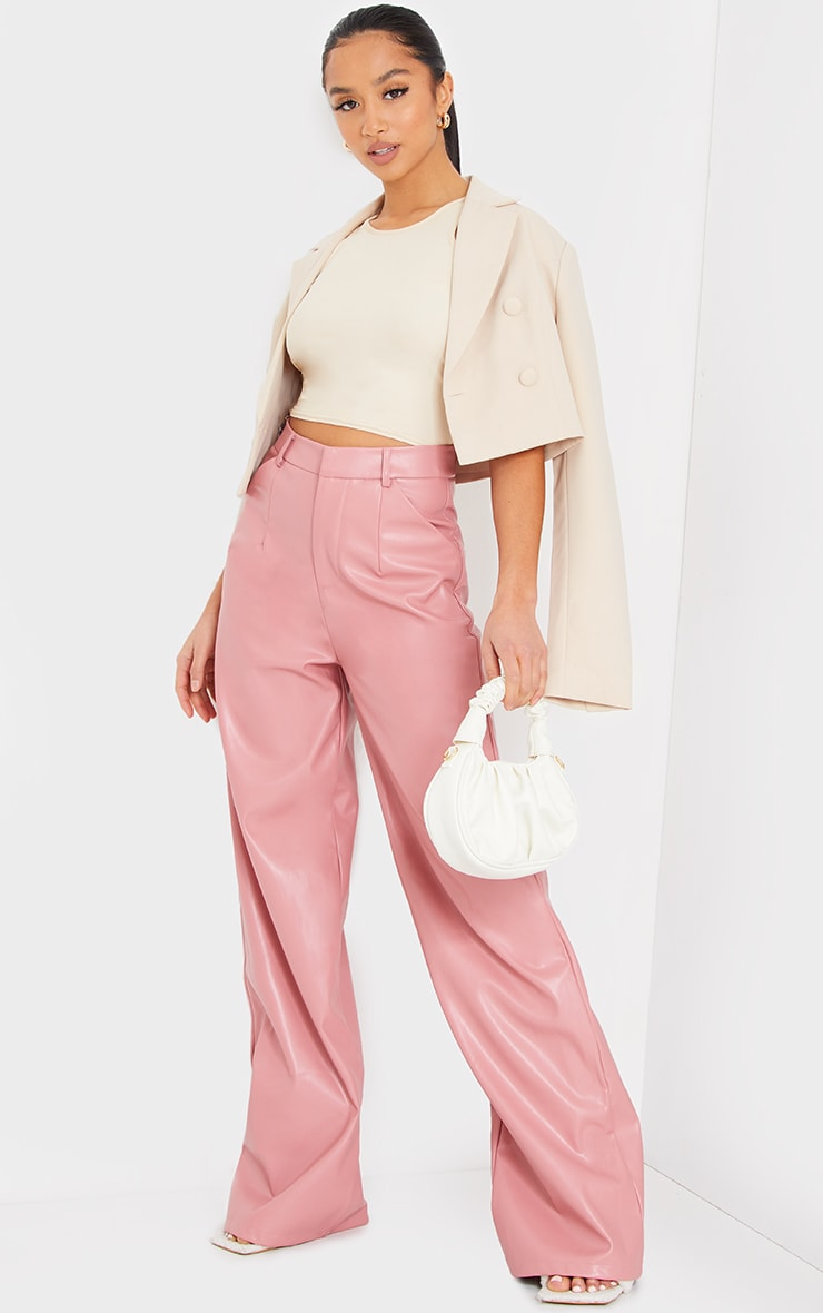 Petite Pink Faux Leather Wide Leg Pants 1
