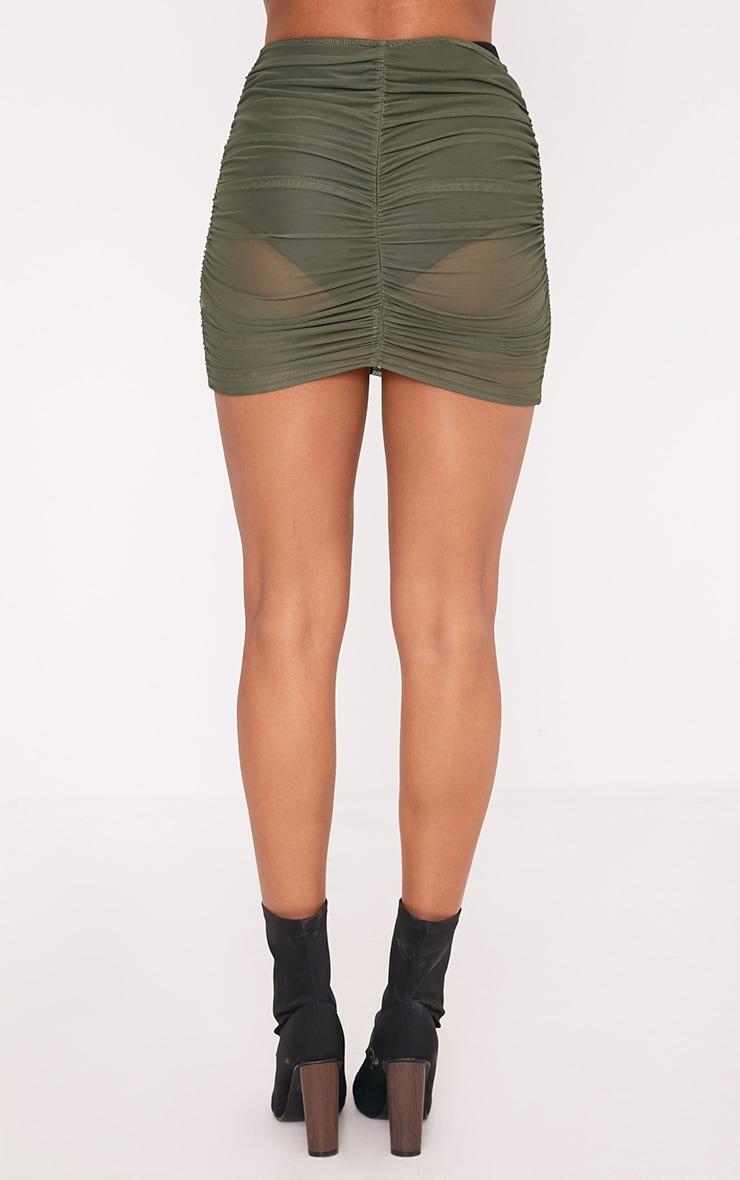 Chelle Khaki Ruched Sheer Mini Skirt 4