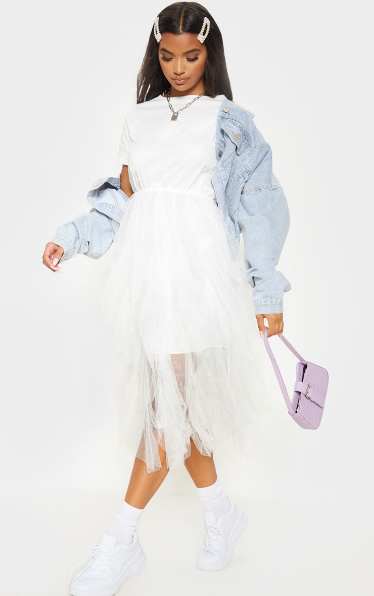genuine shoes limited price new product White Tulle Detail T Shirt Dress
