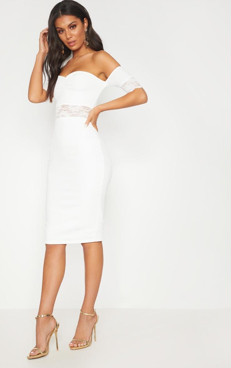White Lace Trim Bardot Midi Dress 4