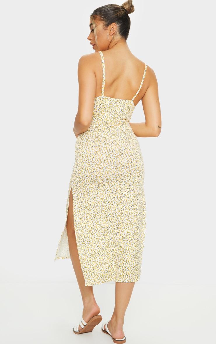 Yellow Ditsy Floral Jersey Split Cami Midi Dress 2